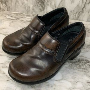 Ariat brown leather slip on confort clogs 6